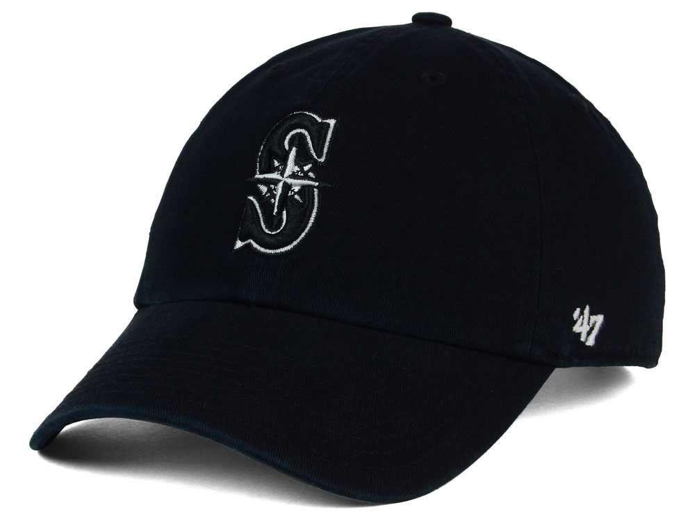 sports shoes 7e4c6 d5440 Seattle Mariners  47 MLB Black White Black  47 CLEAN UP Cap