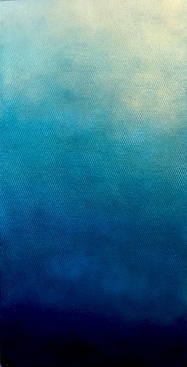 Dark Ethereal Turquoise Vertical Sky painting, Painting, Art