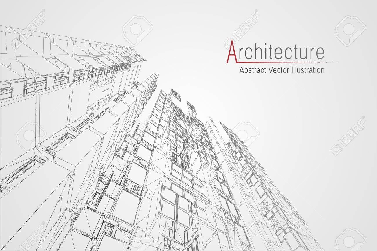 Modern Architecture Wireframe Concept Of Urban Wireframe