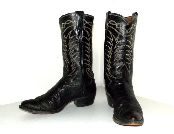 115ef016dfd Rockabilly style vintage cowboy boots in black leather size 9 B ...
