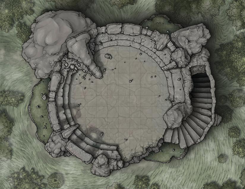 Ulthuk S Last Stand A Ruined Guard Tower In The Wilderness 22x17 Battlemaps Dnd World Map Fantasy Map Dungeon Maps