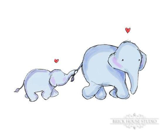 Arte de la pared Sala Vivero - mamá elefante y bebé, impresión 5 x 7 ...