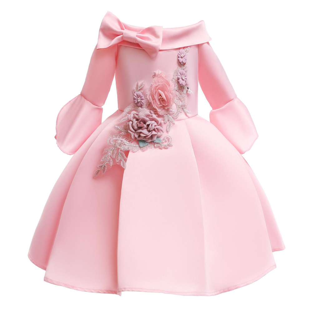 Fashion Pink Embroidery Short Flower Girls Dress For Little Girls Party Gowns With Sleeve Little Girl Prom Party Gowns Cheap Kids Dress Princess Dress Kids Childrens Dress Girls Formal Dresses Kids
