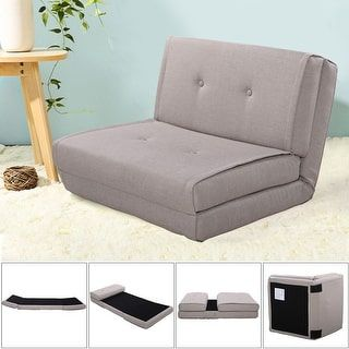 shop for costway fold down chair flip out lounger convertible sleeper bed couch game dorm gray