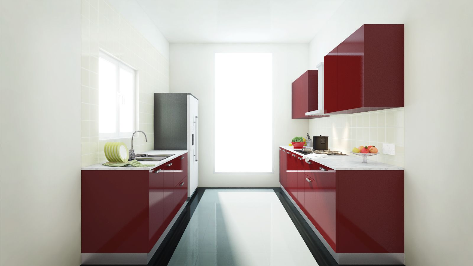 The Paprika Kitchen in a parallel layout has a high-gloss finish ...