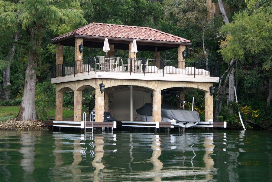 Two story boat dock home boathouse dock pinterest for 2 story lake house