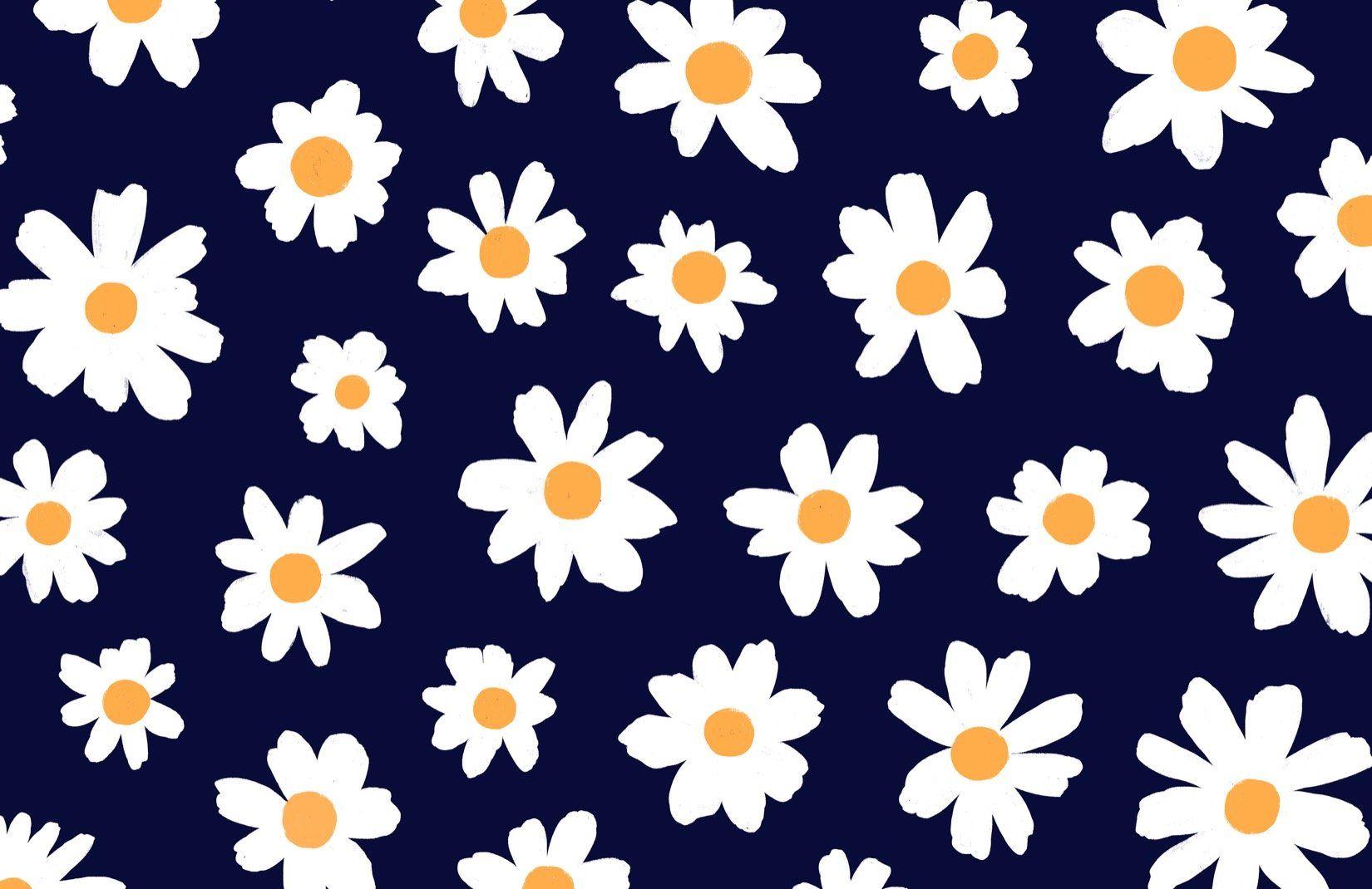 Retro Daisy Wallpaper   Cute Floral Design ...