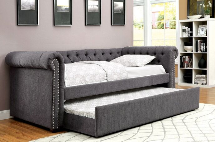Cm1027gy F 2 Pc Leanna Gray Tufted Linen Like Fabric Day Bed And