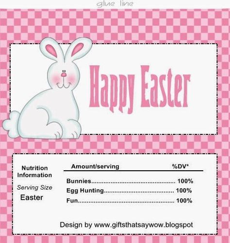 Gifts that say wow cute easter bunny candy bar wrapper for easter gifts that say wow cute easter bunny candy bar wrapper for easter baskets or egg negle Images