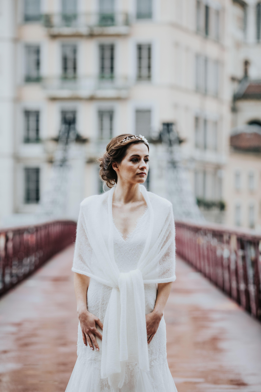 73a7b25db49 étole de mariée - tricot pour mariage - maille mohair - accessoire mariage  hiver