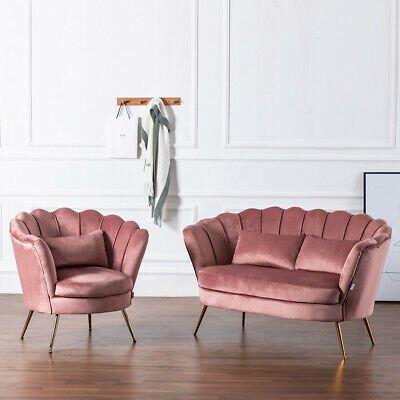 Blush Pink Velvet Armchair Lotus Shell Back Tub Chair 2 ...