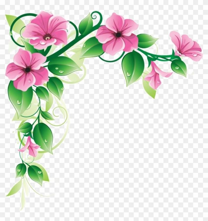 Image Result For Corner Flower Design Flower Border Flower Frame Png Flower Clipart