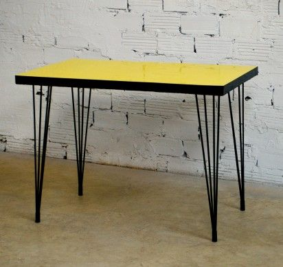Bistro Table 50s Yellow Formica Vintage Retro Furniture Black Metal Legs In Table Bistrot Table Moderne Deco Annee 50