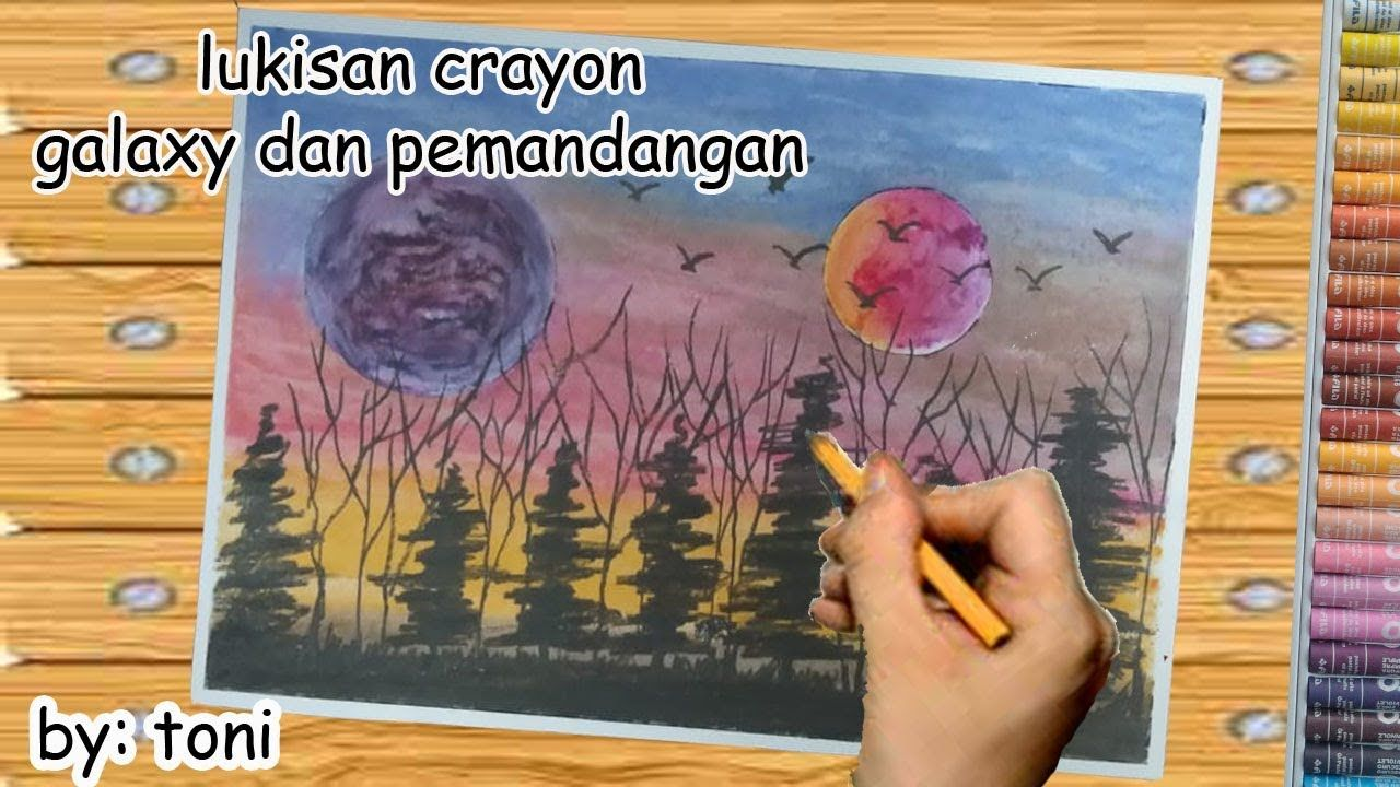 Galaxy Dan Pemandangan Langit Sore Oil Pastel Drawing Step