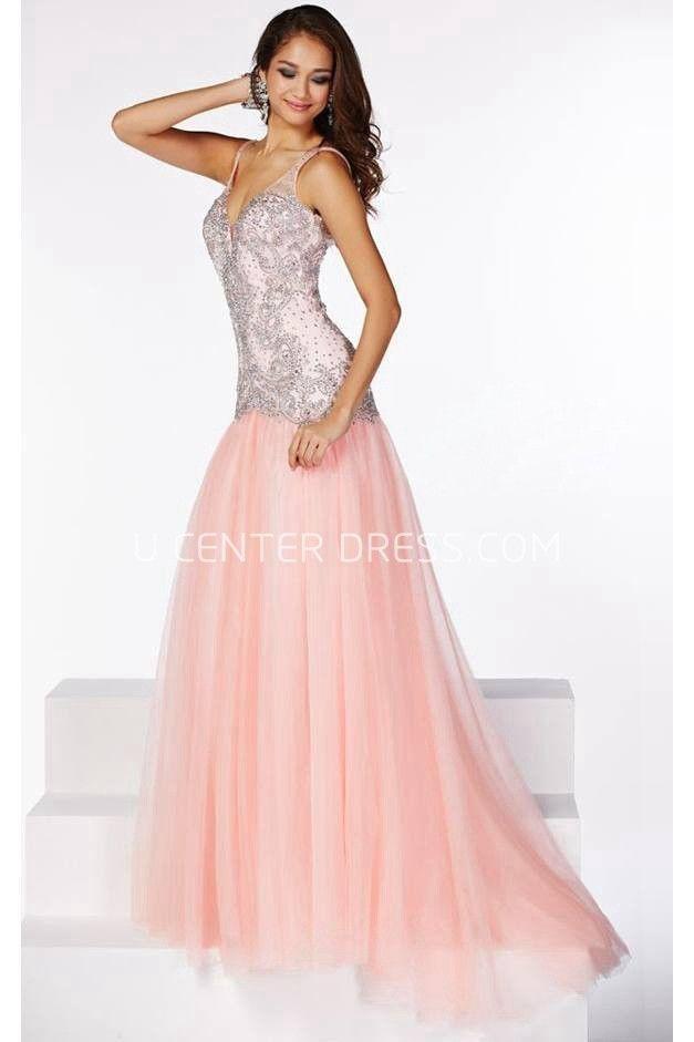 $132.69-Classic Sleeveless V-Neck Beaded Organza Formal Dress with ...