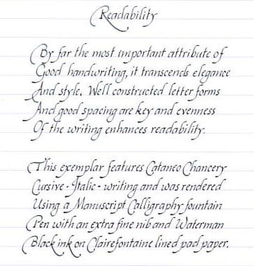Worksheets How To Write Pretty Cursive Handwriting your handwriting quality calligraphy discussions the fountain chancery cursive italic writing introduction my cataneo based everyday hand