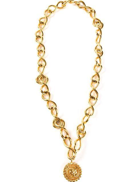 Shop Chanel Vintage medallion pendant necklace in Rewind Vintage Affairs from…