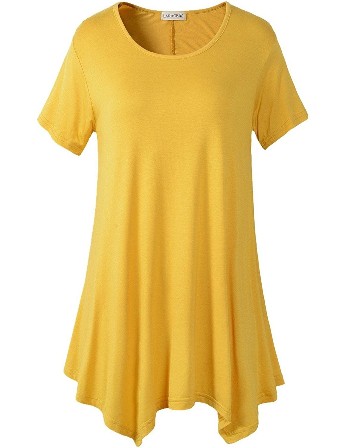 f66df808c3e Women's Clothing, Tops & Tees, Knits & Tees, Womens Swing Tunic Tops Loose  Fit Comfy Flattering T Shirt (XL- Yellow) - CL12LIMDTS5 #women #fashion  #clothing ...
