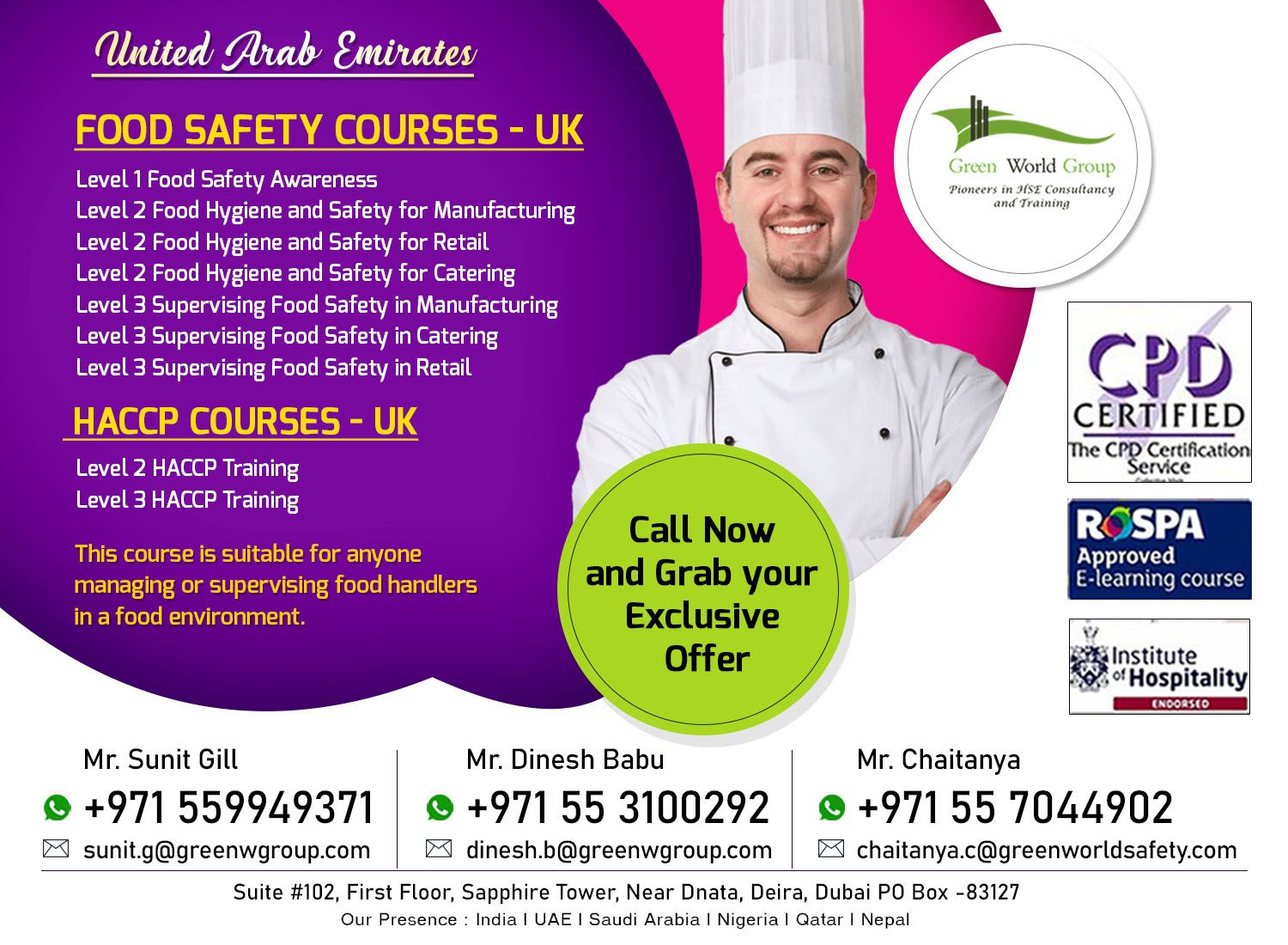 GWG Offer for HACCP and Food Safety courses in Dubai in