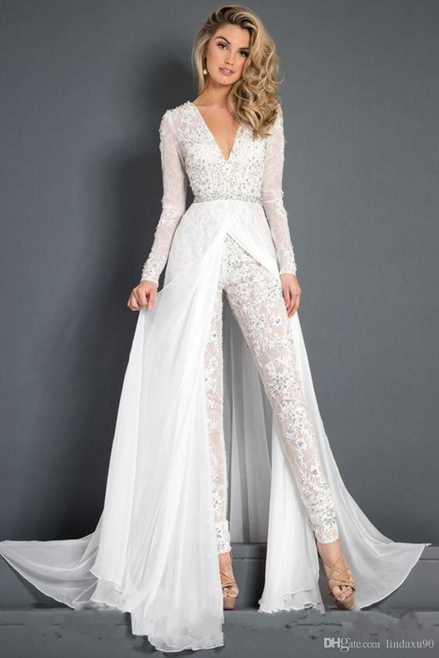 White Jumpsuits Prom Dresses Beaded Lace Deep V Neck Overskirts Formal Evening Party Gowns Cheap Long Sleeve Beach Special Occasion Pants From Lindaxu90 141 9 Expensive Wedding Dress Backless Bridal Gowns Wedding [ 1330 x 887 Pixel ]