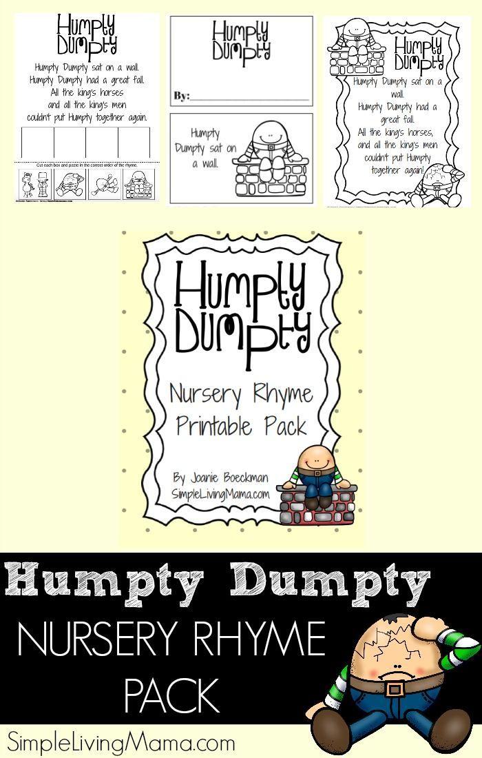 Humpty Dumpty Nursery Rhyme Printable Pack for Preschool | Pinterest ...