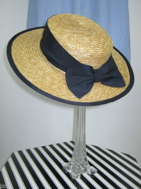 e37d3aeb LAURA ASHLEY VINTAGE CLASSIC NAVY RIBBON & BOW STRAW BOATER HAT, ONE SIZE |  eBay
