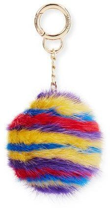 Surell Striped Mink Fur Key Chain, Multicolor