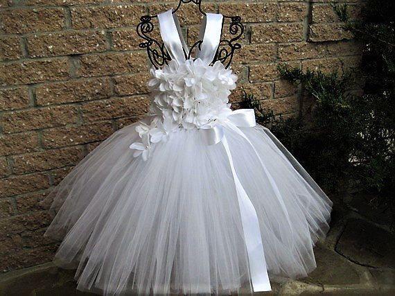 White flowers tutu dress flower girl gown baptism tutus white flowers tutu dress flower girl gown baptism mightylinksfo Images
