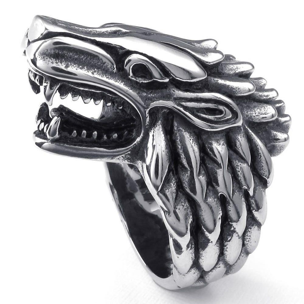 konov bijoux bague homme gothique loup garou acier inoxydable anneaux fantaisie pour. Black Bedroom Furniture Sets. Home Design Ideas