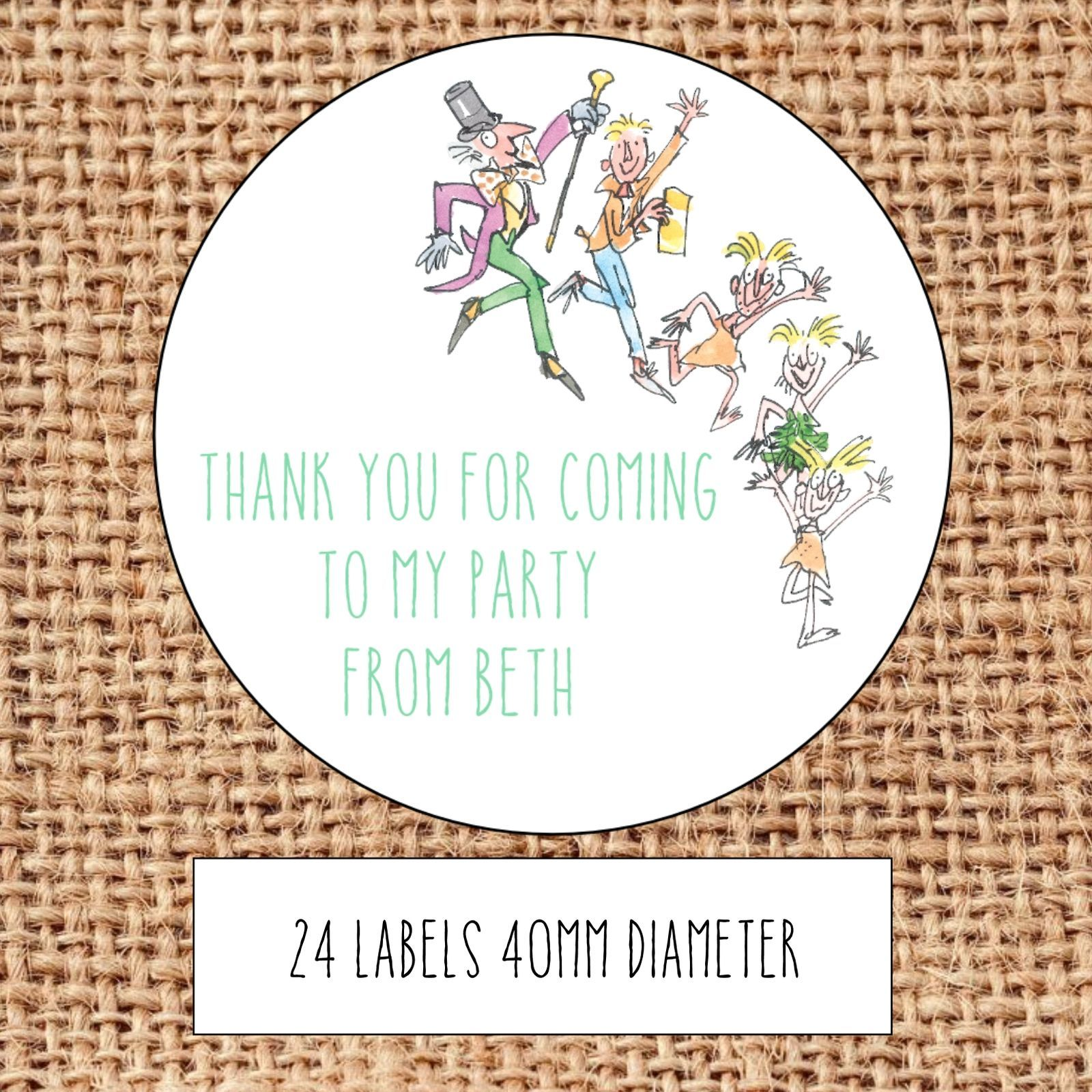 personalised charlie chocolate factory party bag stickers thank you