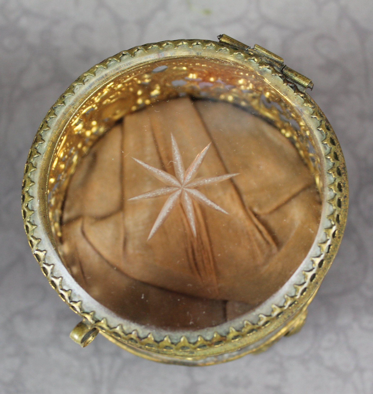 Antique Ormulo Embossed Filigree Gold Tone Metal Etched