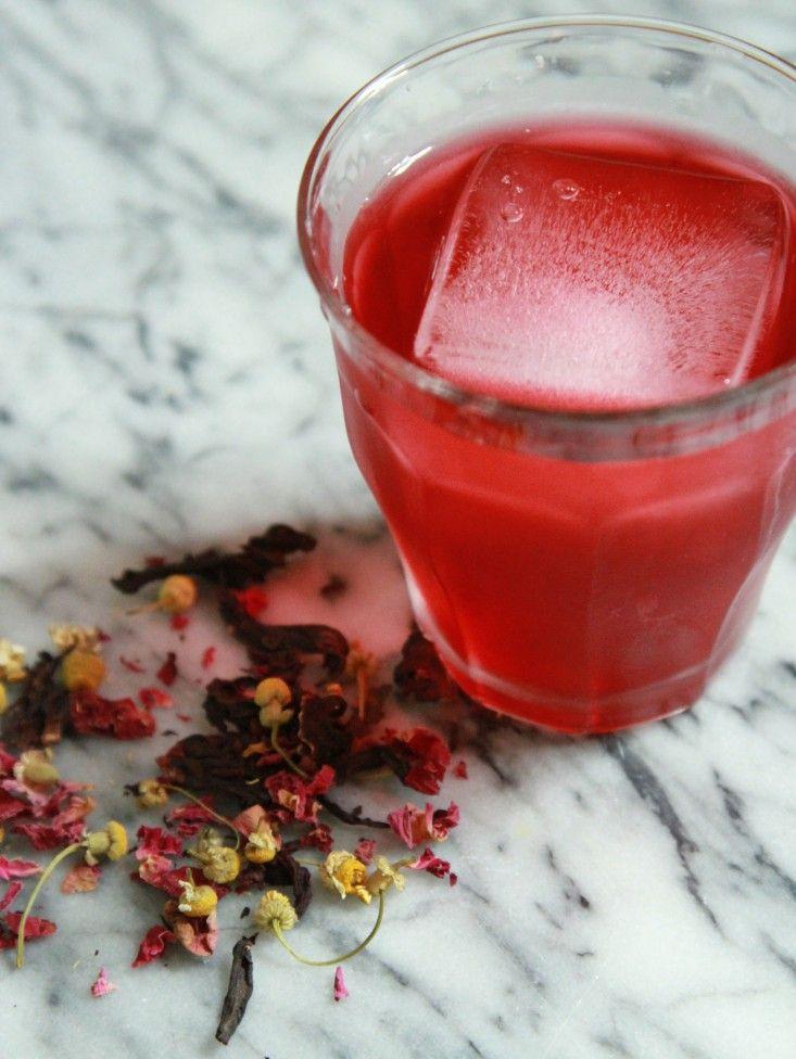 """Goddess Sun Tea""--hibiscus, rose petals, chamomile-sweetened w/ suger or substitute ( Gardenista )"