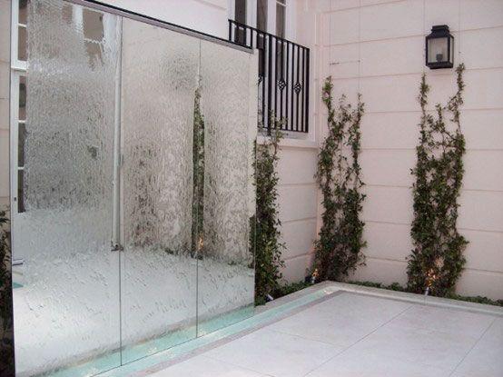 Garden, Gorgeous Outdoor Water Walls Design Ideas With Fancy Glass ...