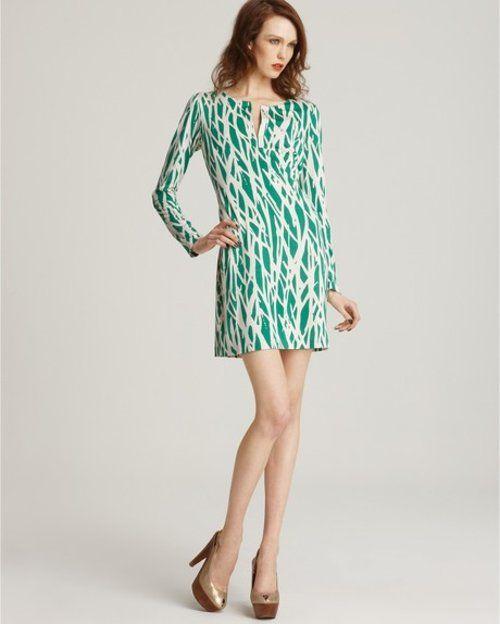 DIANE VON FURSTENBERG DVF REINA GREEN TWIGGY TWIGS NON WRAP SHIFT DRESS SILK JERSEY - $119