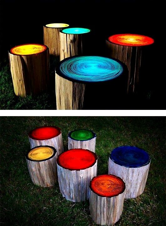 How To Make Glow In The Dark Paint Log Stools Backyard Glow In The Dark