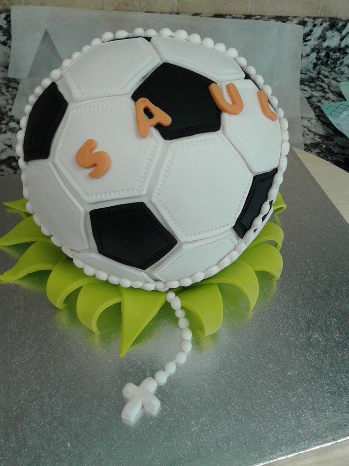 tarta Balón de futbol de fondant