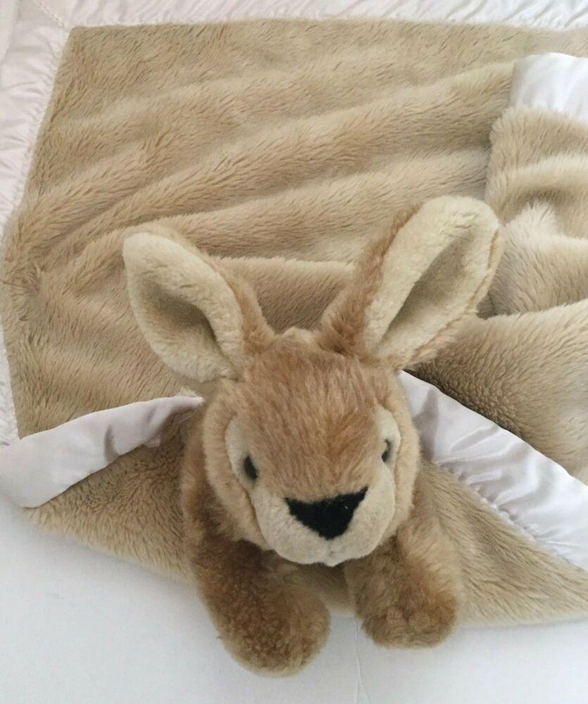 My Banky Rachel Brown Plush Bunny Rabbit Security Blanket Satin Trim #MyBanky #securityblankets