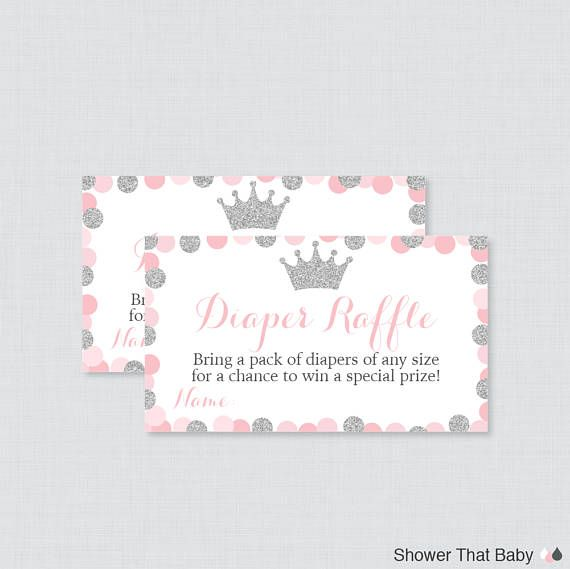 pink and gray princess baby shower diaper raffle tickets and diaper rh pinterest com