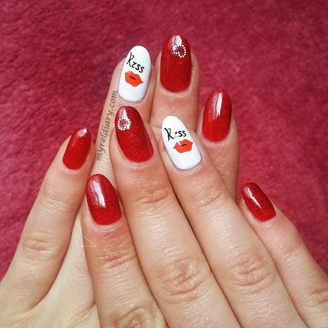 Cute Nail Art Ideas For Valentine Day Red Nails And White Nail