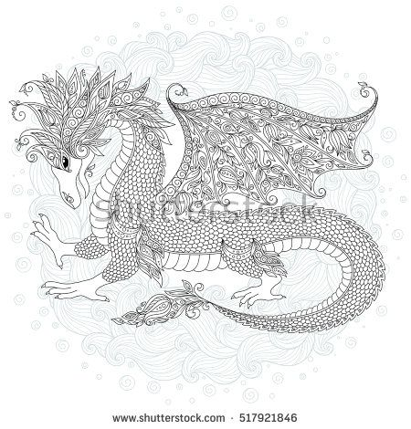 Vector cartoon dragon. Hand drawn. Black, white. Doodle sketch. Zen ...
