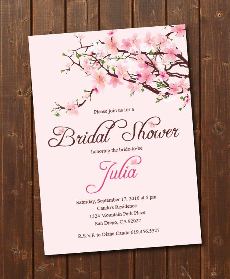 Printable Cherry Blossom Bridal Shower Invitation Printable Wedding Shower Bridal Shower Template Engagement Announcement Miss To Mrs Engagement Invitations Bridal Shower Invitations Printable Engagement Invitations Printable