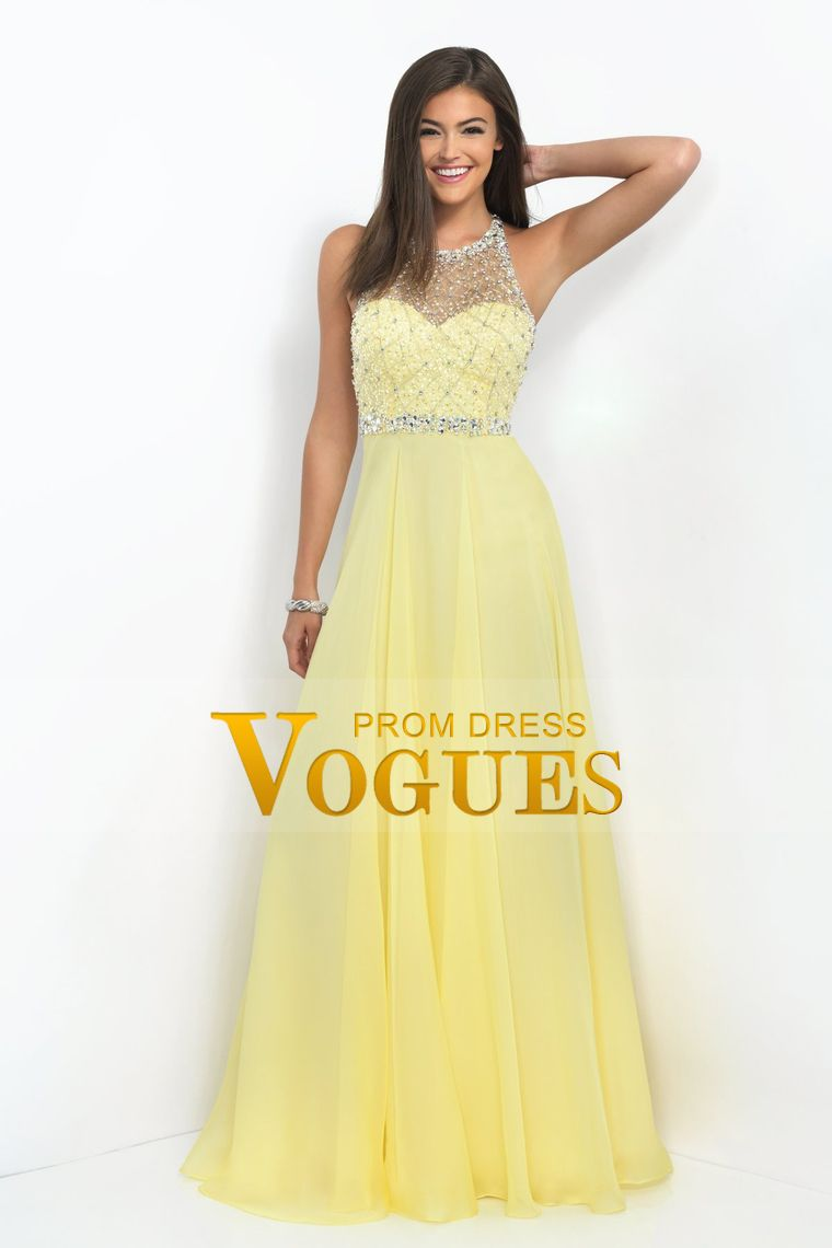 2016 A Line Prom Dresses Halter Beaded Bodice Open Back Sweep Train Chiffon