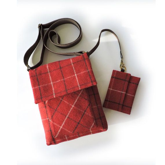 Beautiful earthy red Tweed cross body bag with matching ...