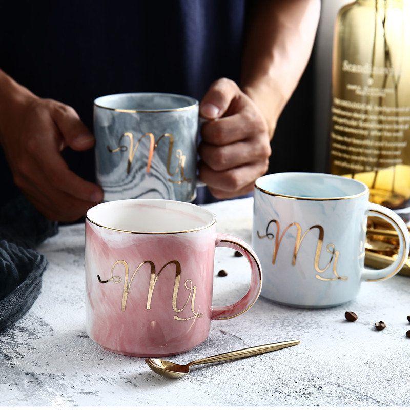 European Marble Lines Mug Ceramic Mug Office Cup Coffee