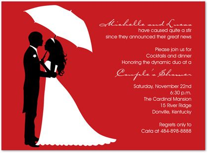 Couples Shower Invitations, Couple's Silhouette Berry, 23340