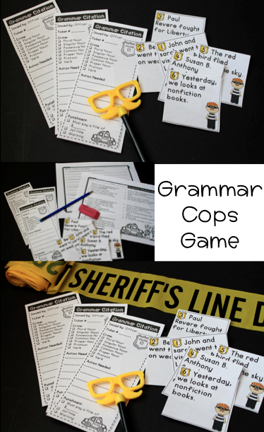 Grammar Police Game Love This For Classroom Transformation And Teaching Or Assessing Nouns Verbs And Pronouns So Fun Grammar Parts Of Speech Games Verb