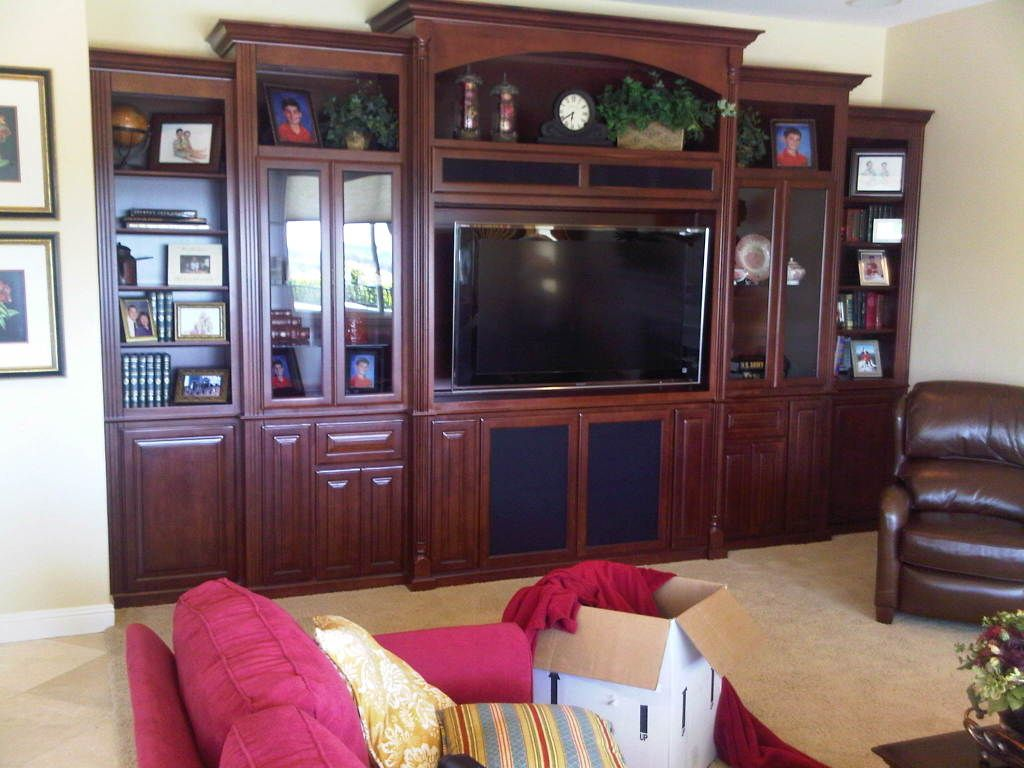 Custom Built-In Media & Display Cabinets with Glass Doors