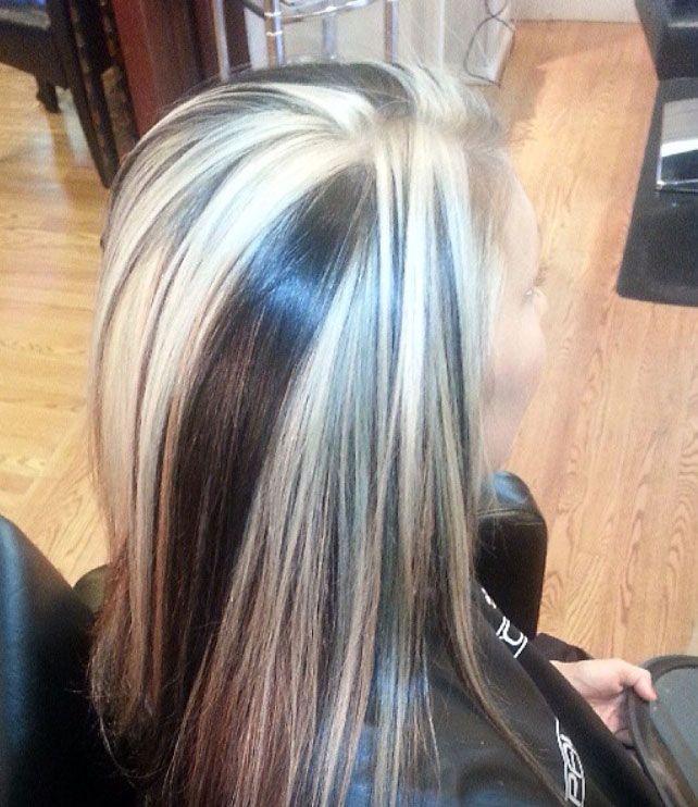 Chunky Streaks In White And Dark Brown Hair Colors Ideas Hair Streaks Black And Grey Hair Grey Brown Hair