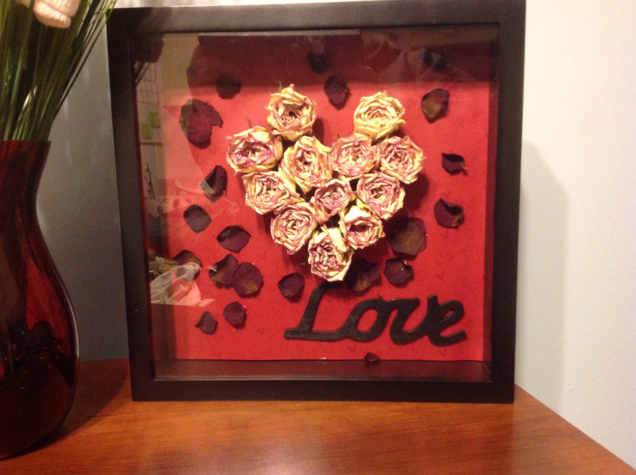 Valentines roses saved and put into a shadow box to save and display.