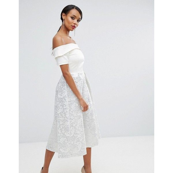 Vesper Off Shoulder Prom Dress In Metallic Jacquard ($124) ❤ liked ...